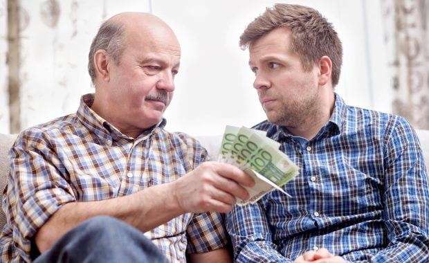 Elderly father lends money to his adult son